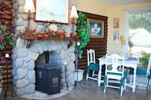 The sunroom has a great breakfast nook area too.