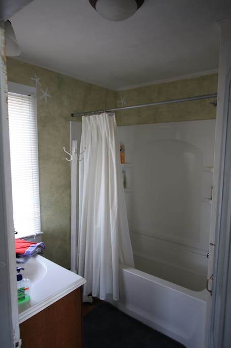 Updated bathroom with nice shower and tub!