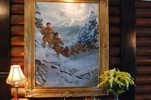 One of the original art pieces in the entry way by David Clemons.