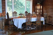 The formal dining room. This table sits 12 comfortably, but we can add additional extenders to formally sit 25.