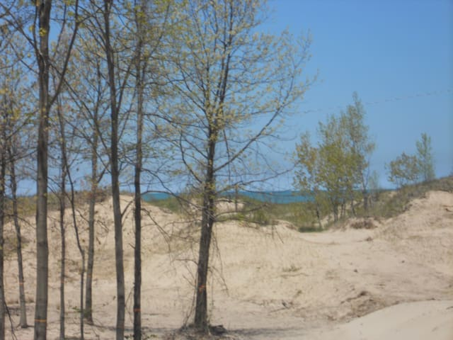 Cottage over Lake Michigan