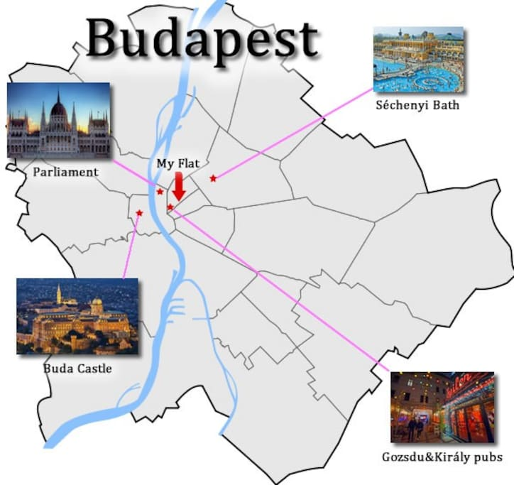 The relative position of the flat in the heart of Budapest, yet in a calm area.