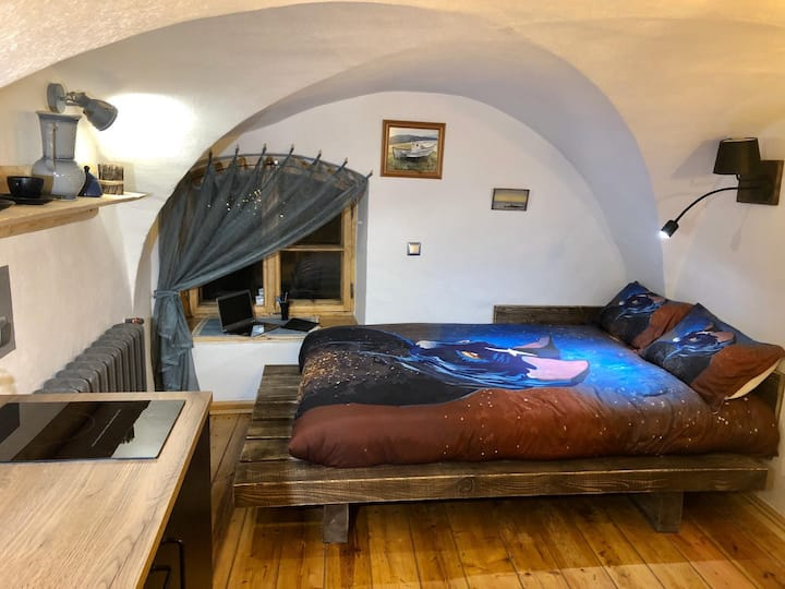 Medieval stylish studio in 17th century house