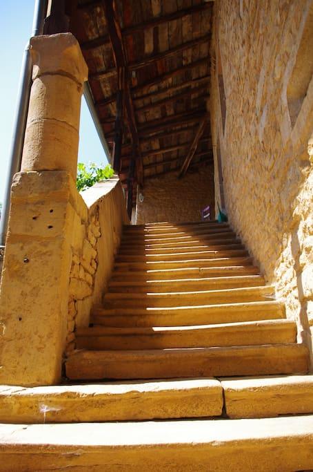 L'escalier couvert au dessus des voûtes