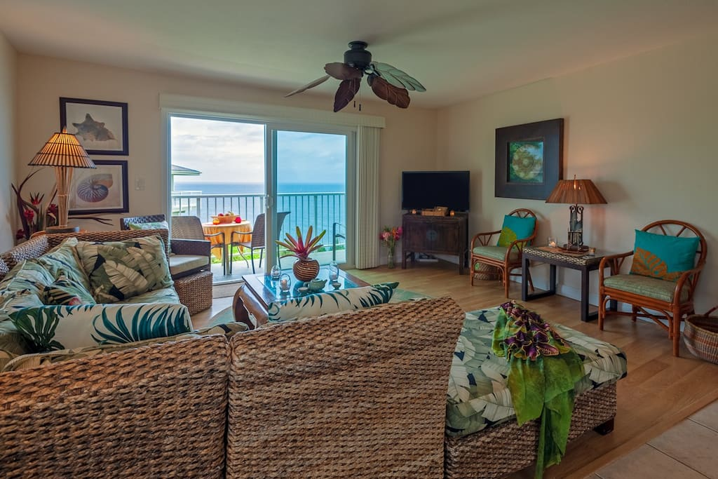 Updated oceanfront living room at our Kauai vacation rental Alii Kai I in Princeville