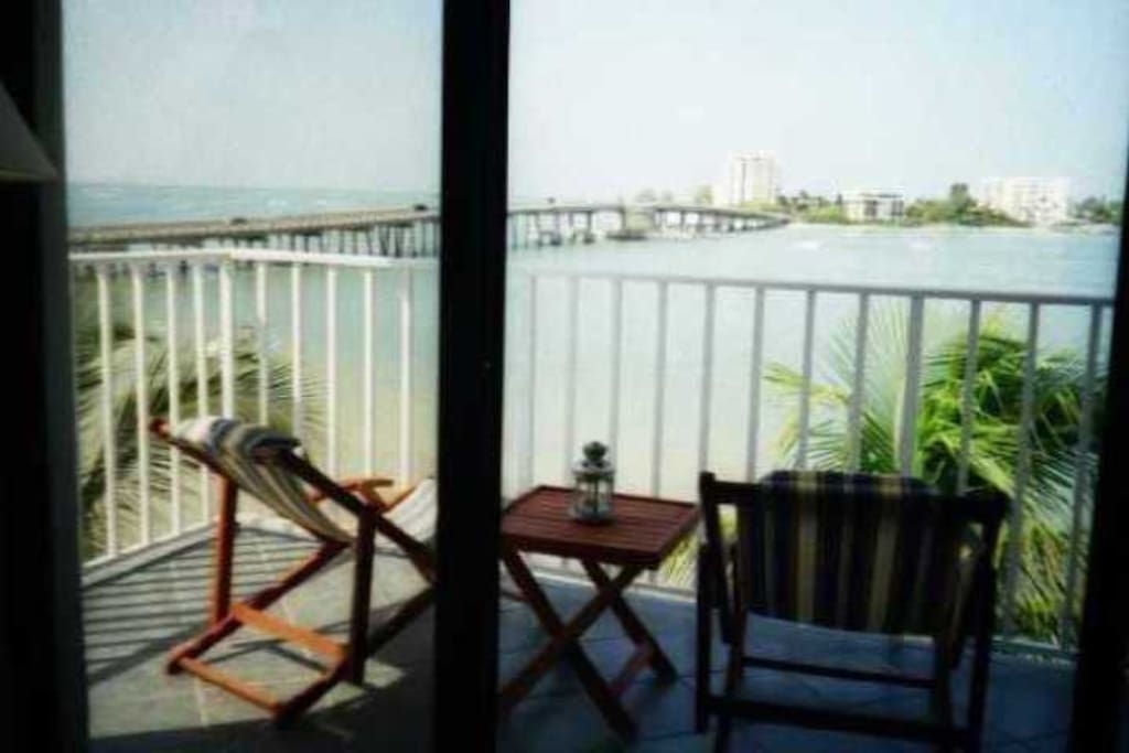 view of balcony from the living room