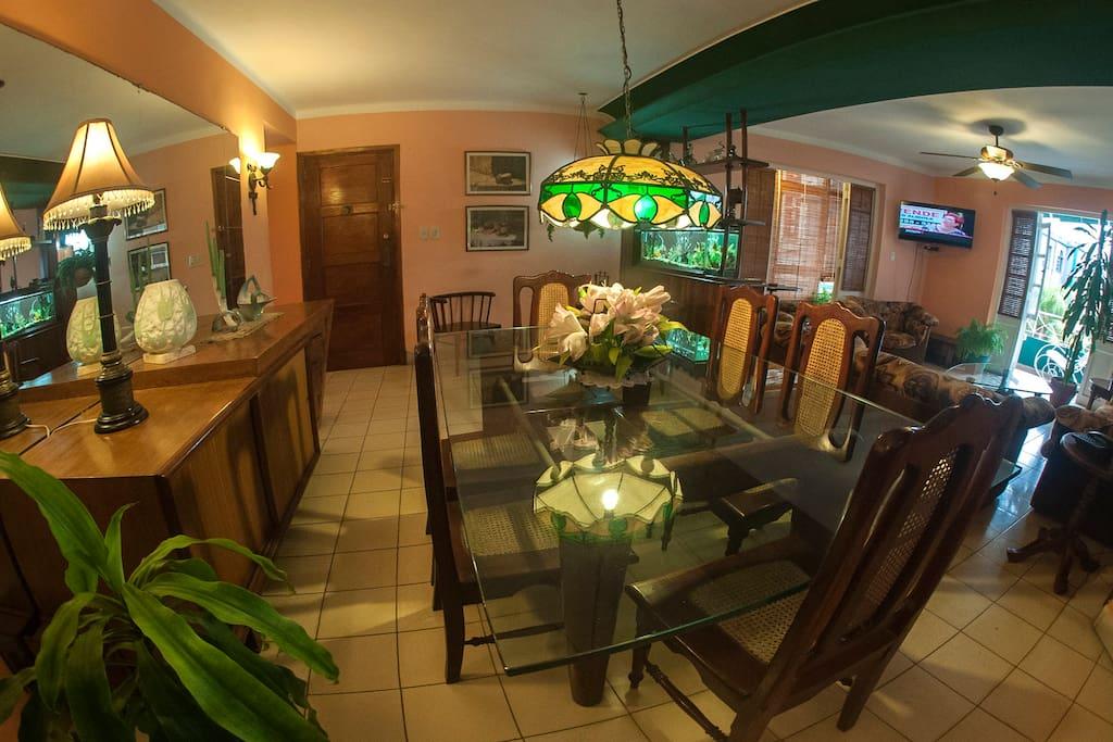 Comedor, espejo, lámparas, muebles, TV, decoración