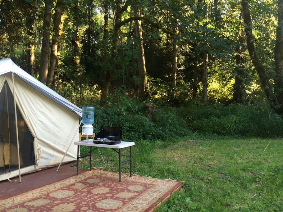 The tent is positioned in a private meadow along the creek with a backdrop of mature trees, native plants, and wild flowers.