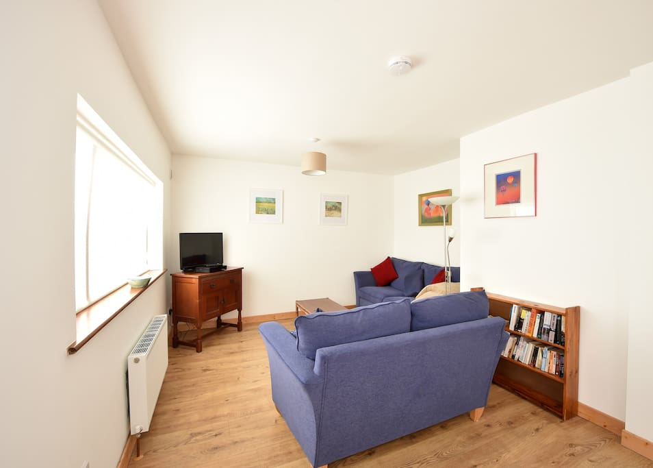 Living area with cable TV, free wi-fi, books to browse.
