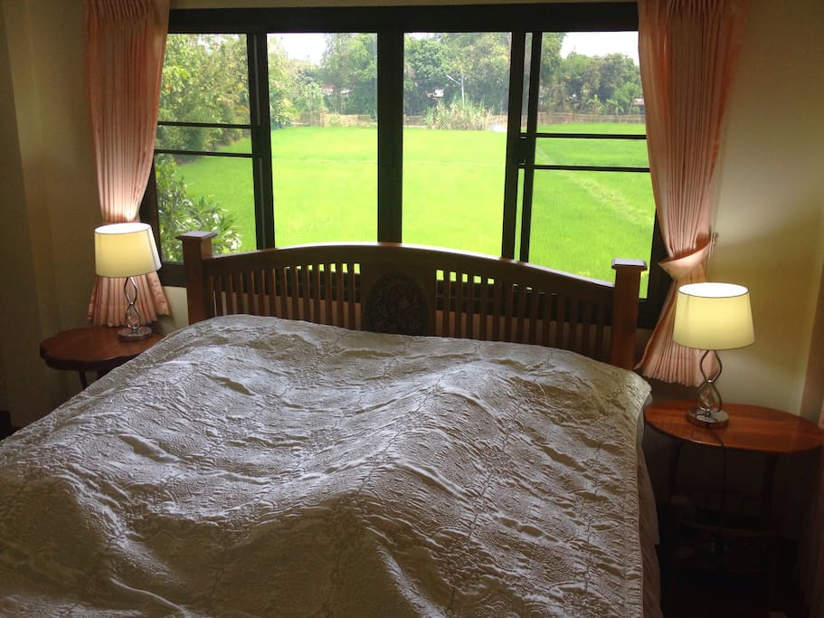 Rice Field View,  Master Bedroom with a King size bed and a Private bathroom