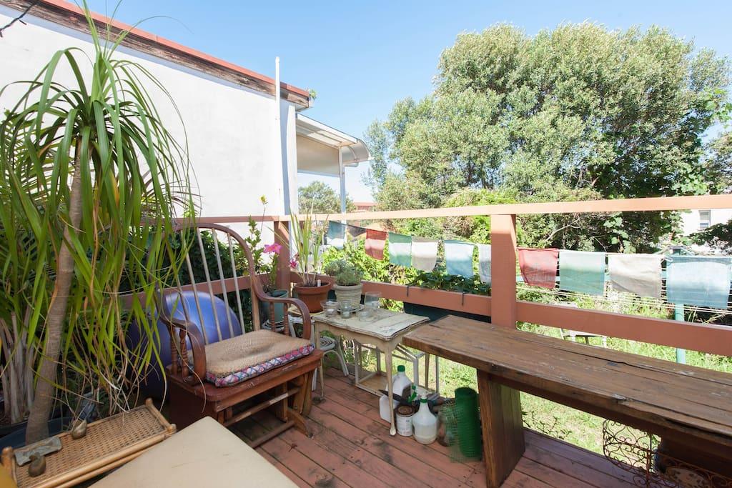 The deck, overlooking the garden