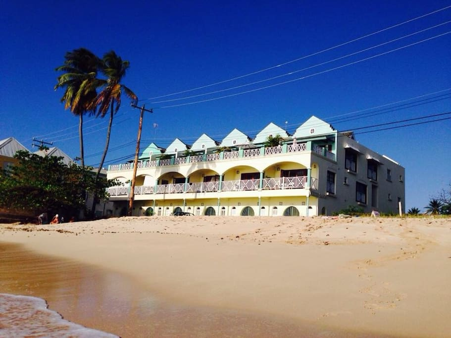 Turtle Beach as seen from the sea ...third from right, first and top floor...with amazing, unobstructed views of the gorgeous Caribbean Sea