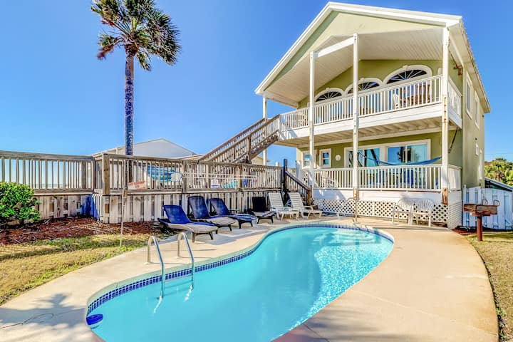 Gulf front getaway w/ private outdoor pool, beach access, & stunning views!