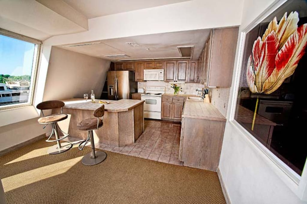 This penthouse has a fully equipped kitchen with microwave, refrigerator, and dishwasher.