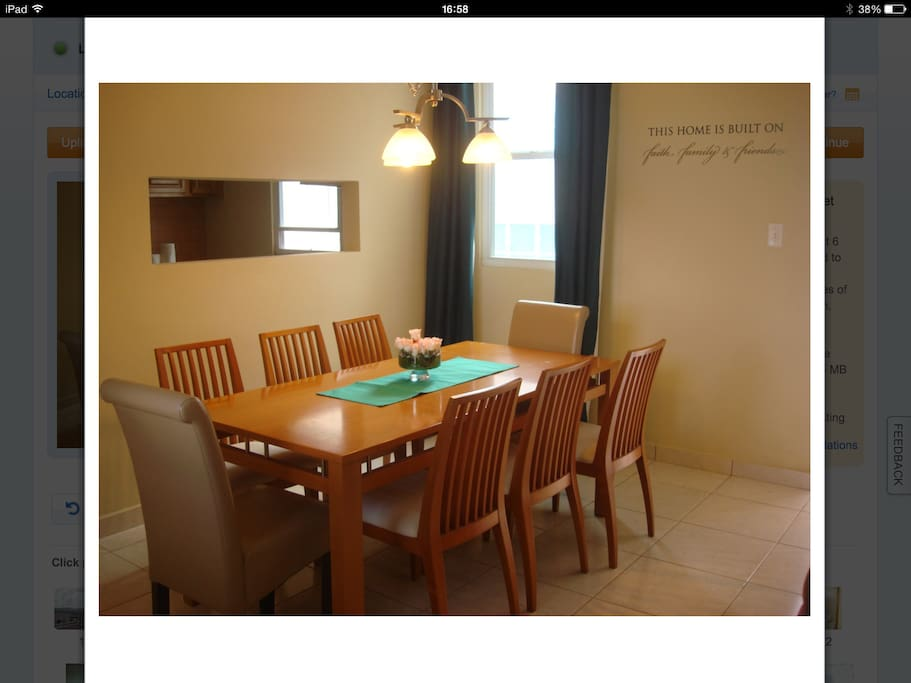 Spacious dining room with seating for eight.