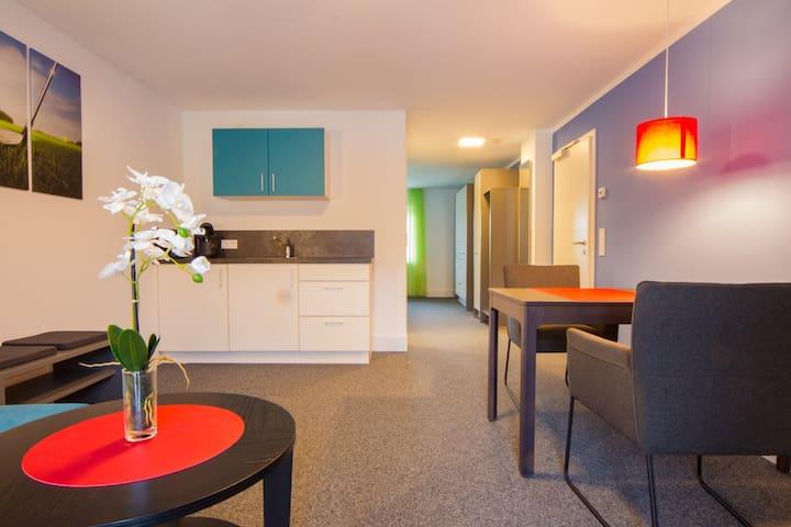 Appartements am Rindhof (Münnerstadt), Modernes Appartement 8 in ruhiger Lage mit Blick in die wunderschöne Natur