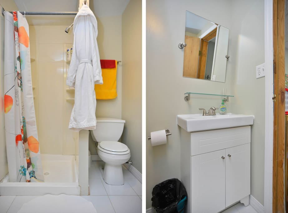Bathrobe, Shampoo, Conditioner, and Body wash, so you don't have to worry about check in fluids.