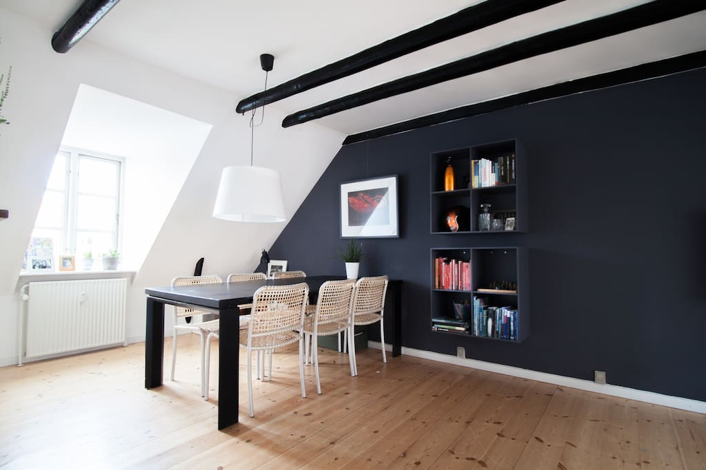 Living room with large dining table