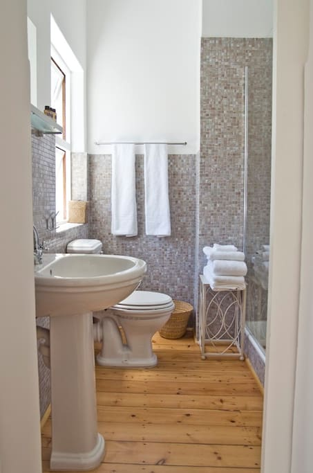 En-tiled mosaic bathroom with high quality bathroom amenities