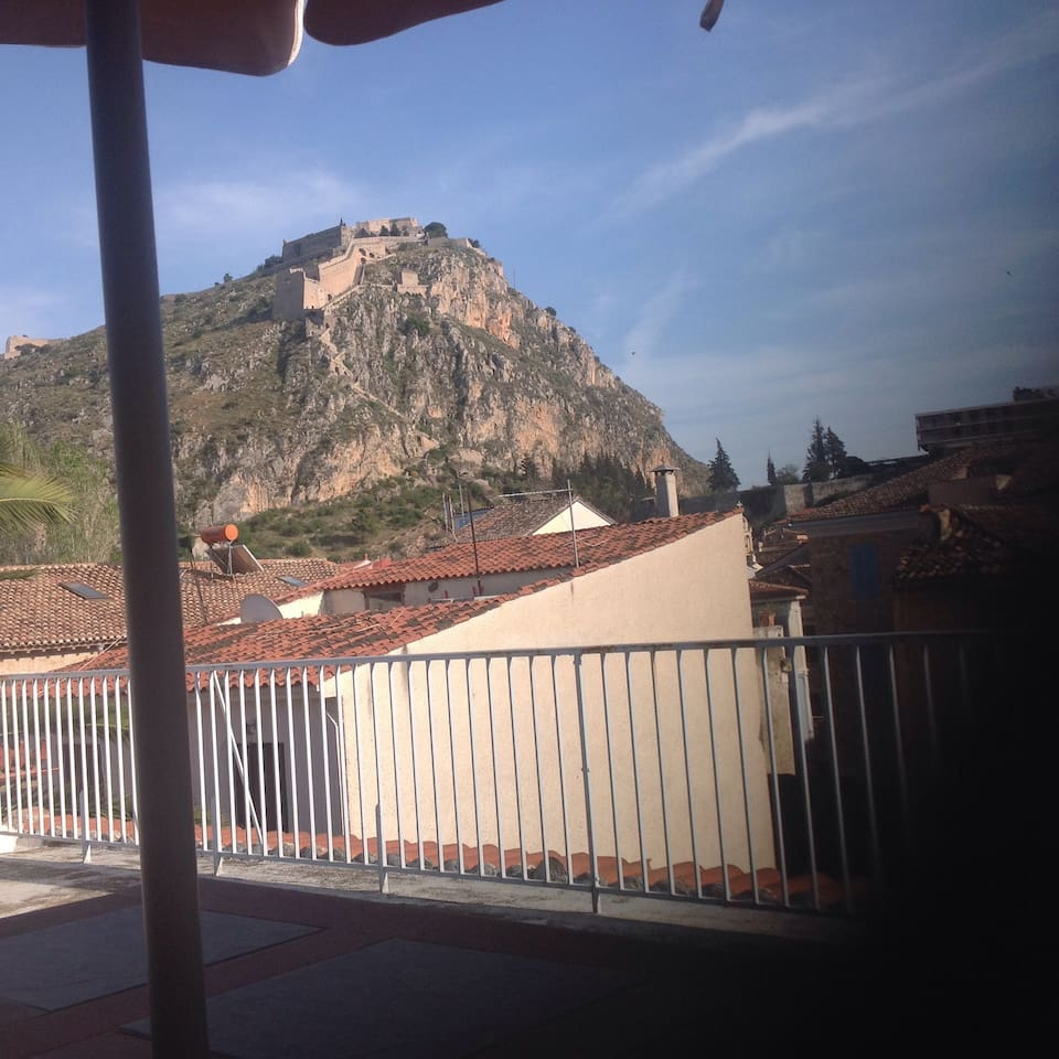 The view of Palamidi Castle from its roof top terrace.