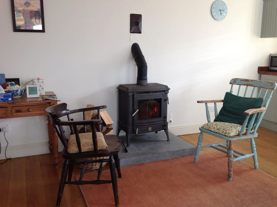 Wood burning stove in the kitchen/ dining area