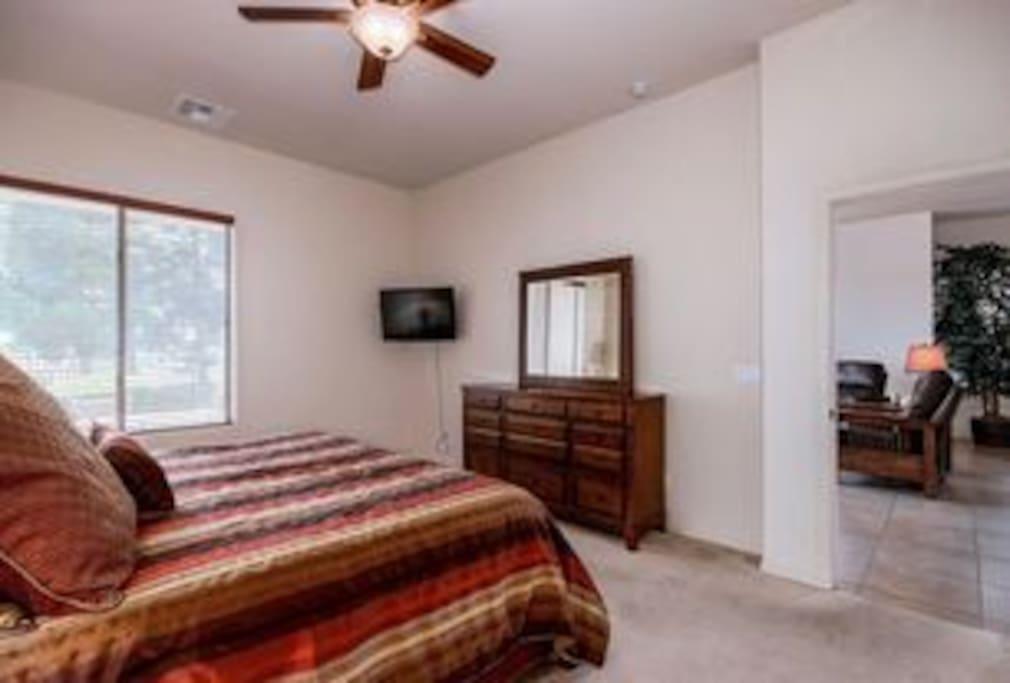 Master bedroom overlooking golf course