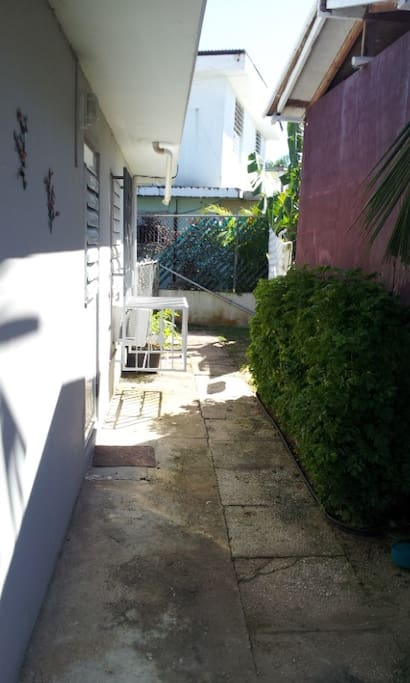 Part of back Porch & yard with Bannana trees, coconut trees  & vegetables
