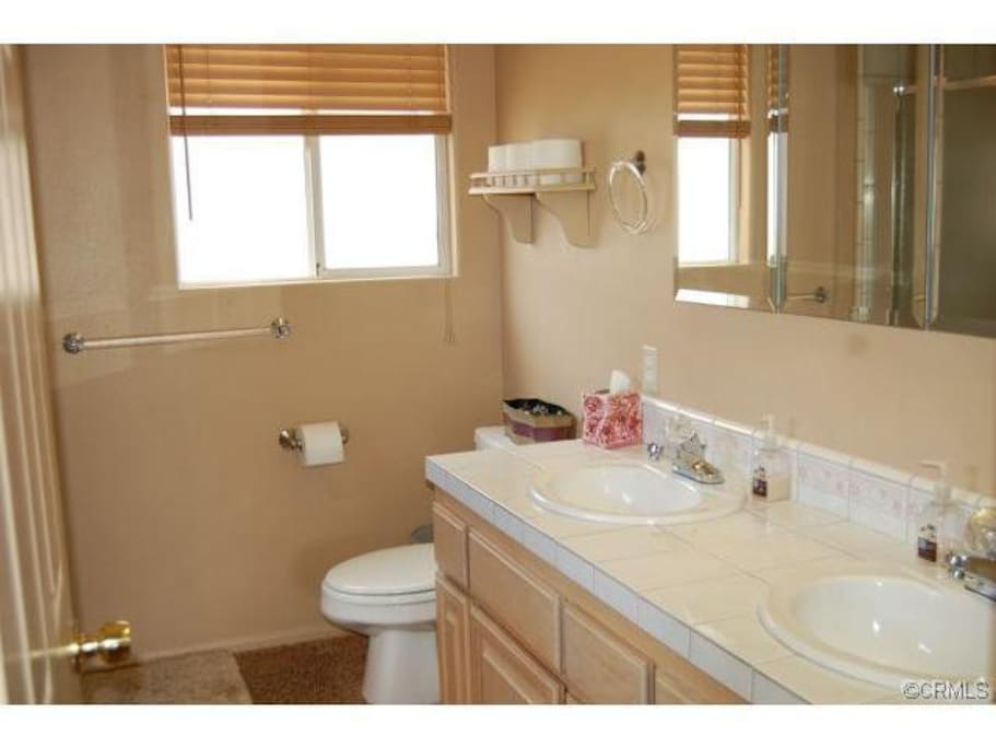 Private bathroom with shower and seperate tub