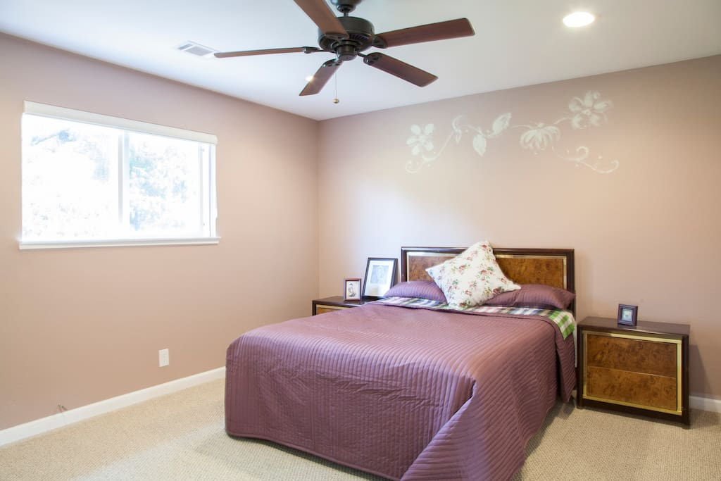 Royal Purple Bedroom with a Queen Bed