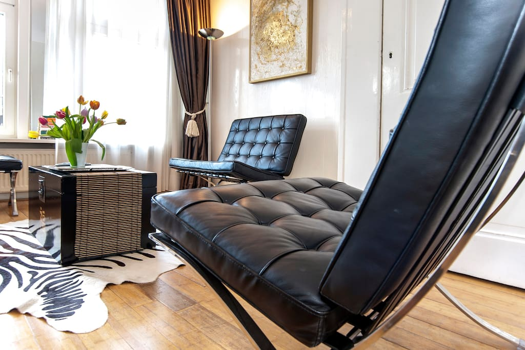 living with lovely Barcelona chairs to relax