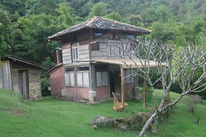 Cabana rustica no meio da natureza