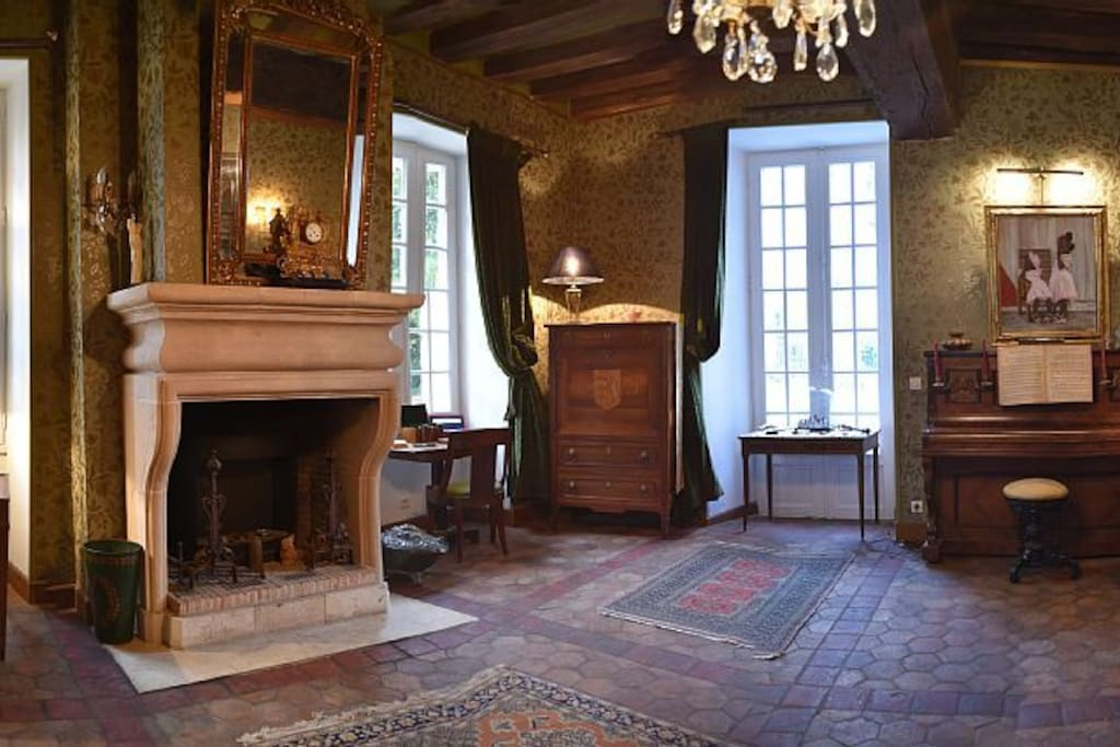 chambres jaune et salon vert au chateau ch teaux louer mignerette centre val de loire france. Black Bedroom Furniture Sets. Home Design Ideas