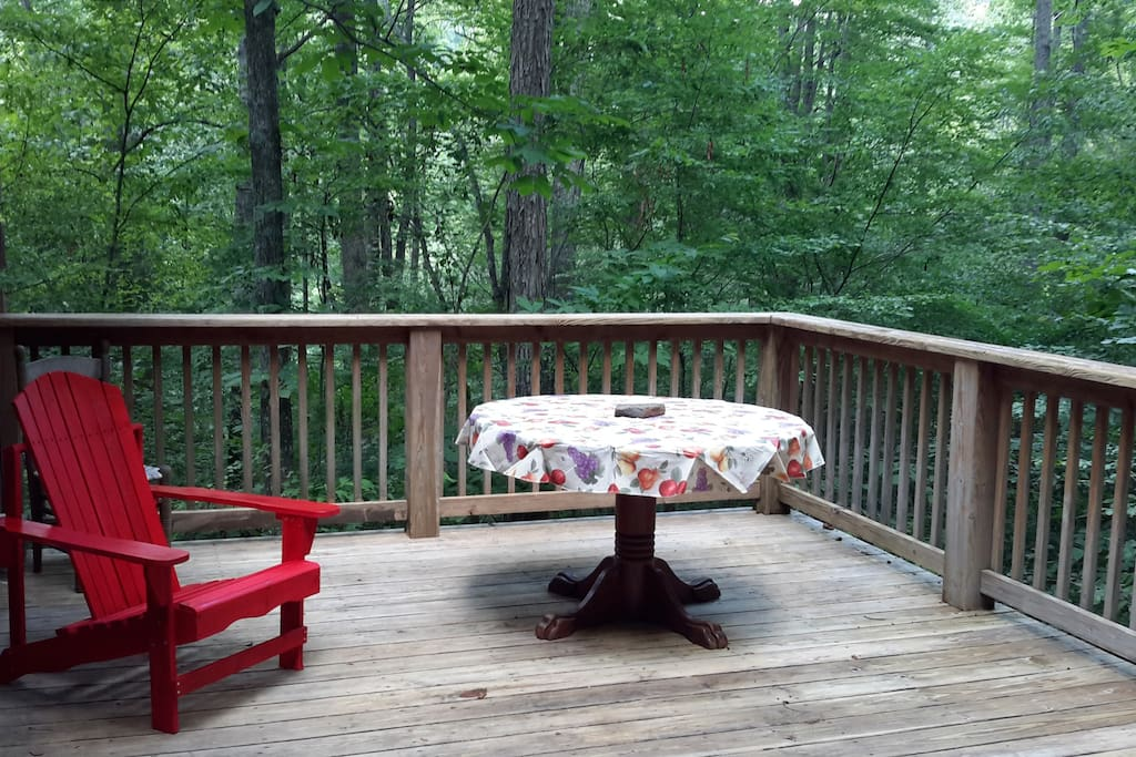 Back deck, surrounded by the woods.