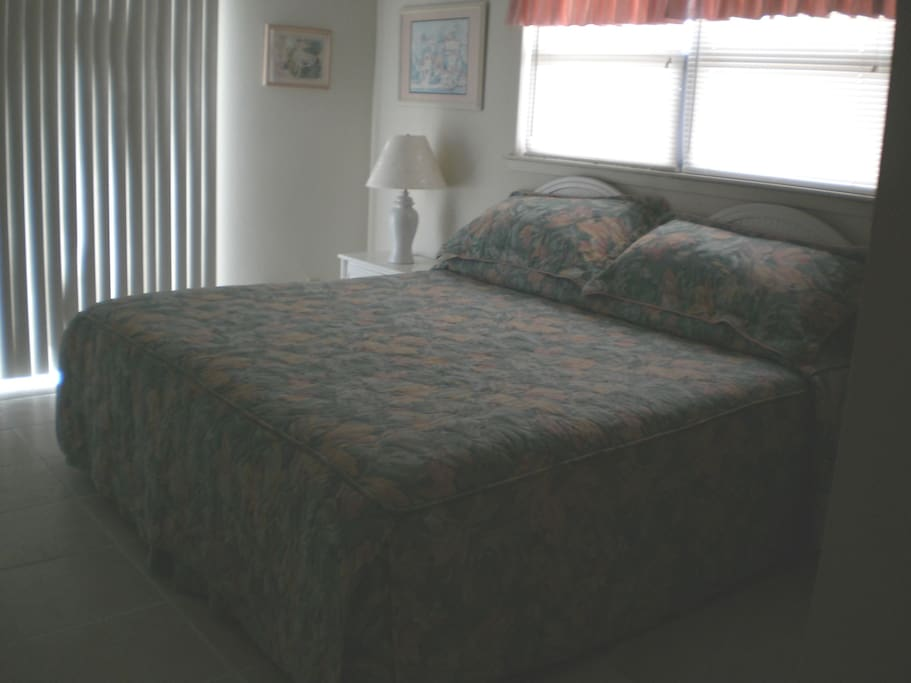 King bed in the master.  Wake up to the Gulf of Mexico through the sliding glass door
