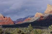 A light winter snow on Chicken Point as viewed from the Yavapai Vista on the Coconino National Forest.