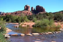 Iconic view of Cathedral Rock.  Photo at Red Rock Crossing taken near the Crescent Moon Picnic Area on the Coconino National Forest.