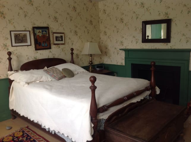 Green bedroom 1800's house near BSU - Bridgewater - Casa
