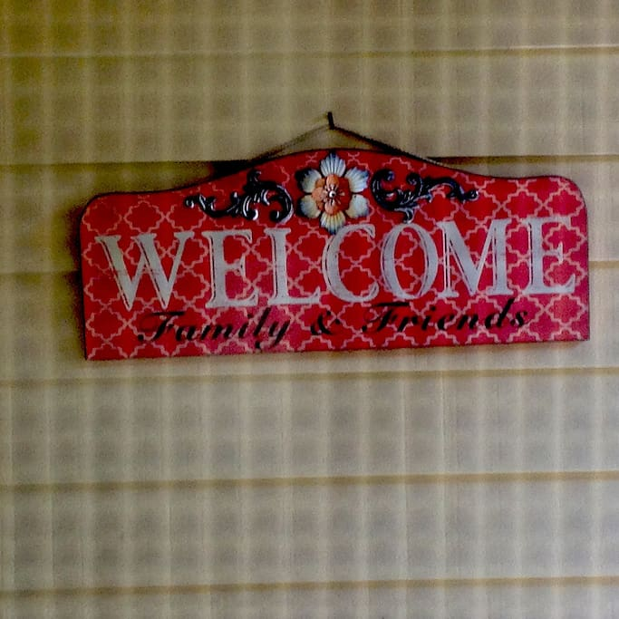 Welcome sign at front door