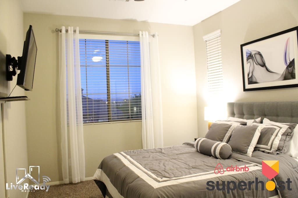 Every room comes with a comfortable bed, flat panel TV, lamps, ceiling fan, and closet.
