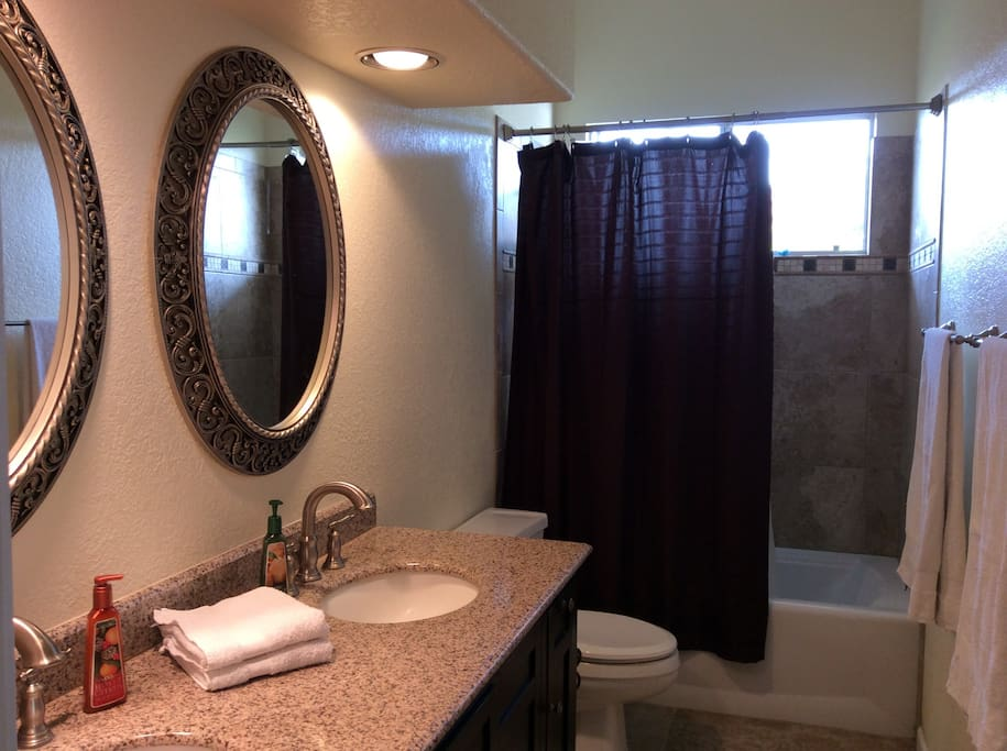 We provide clean towels, body wash, shampoo, and conditioner, for your convenience.