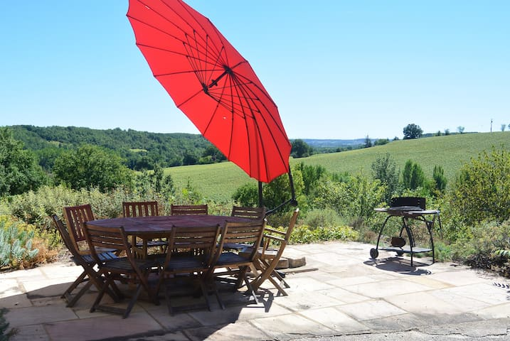 Converted stone barn with stunning views and pool