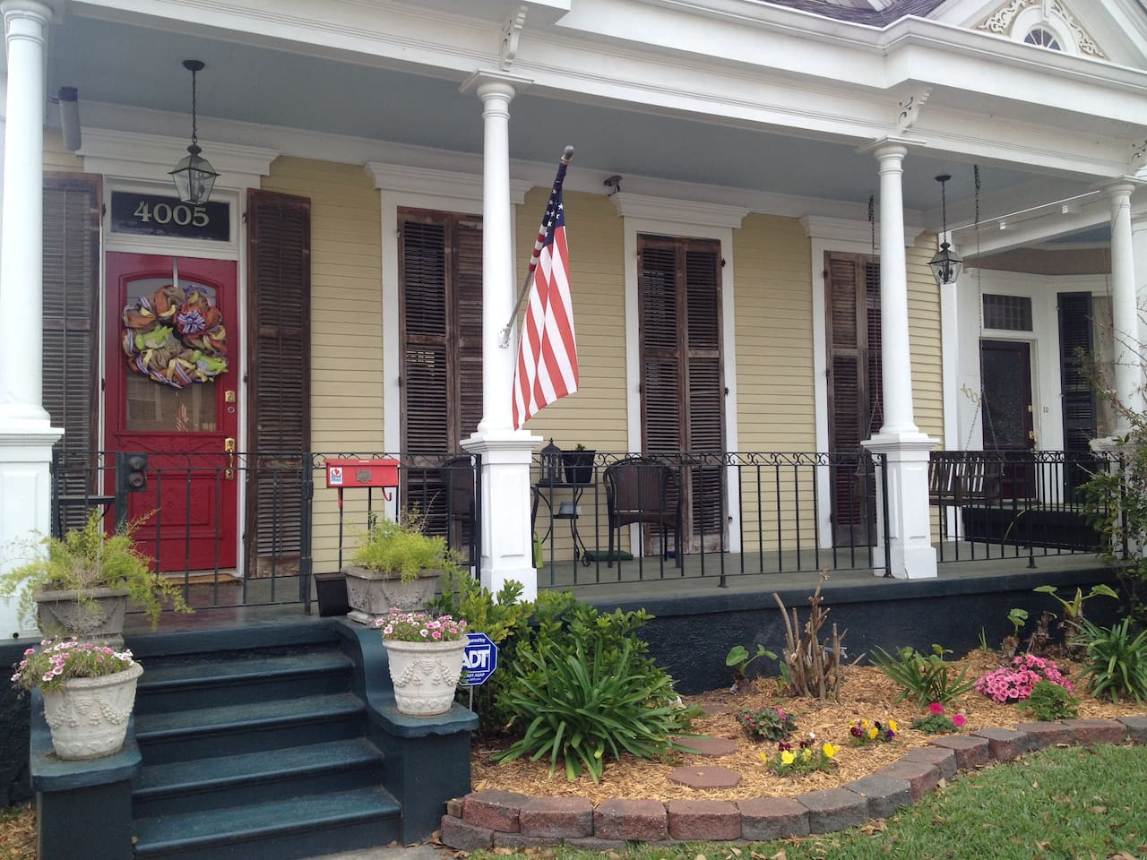 The front of our home; built in 1905.  The apartment is in the rear of the home with a separate entrance.