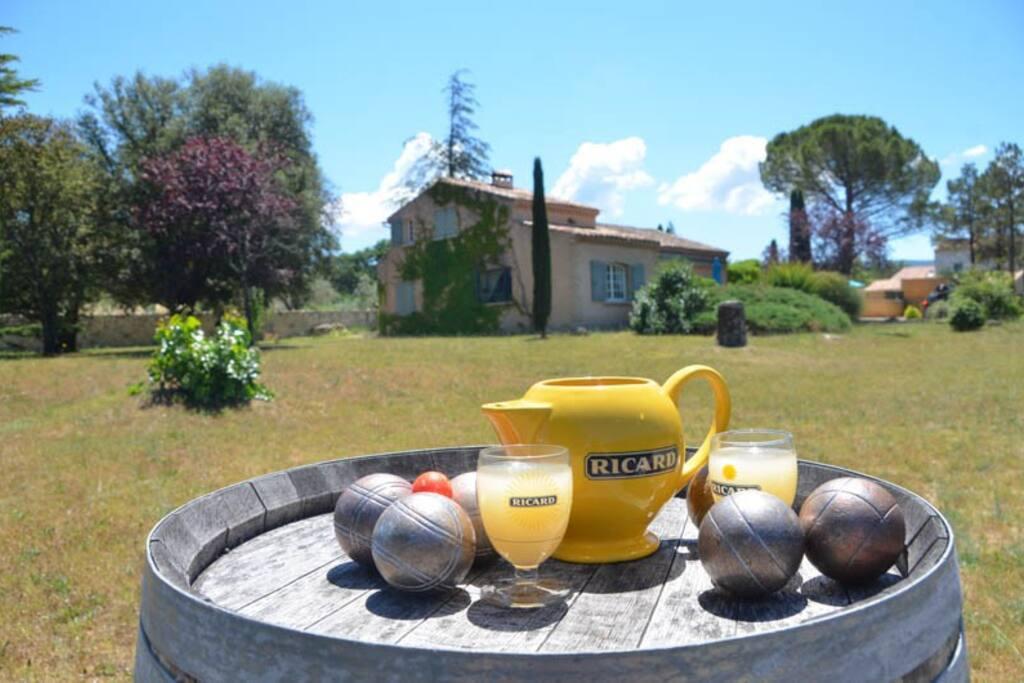 tuin, met petanque en tafeltennis