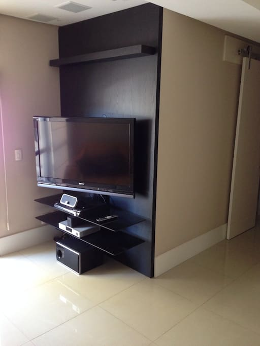 Living room with a 46 inch TV with 150 channels at your disposal.