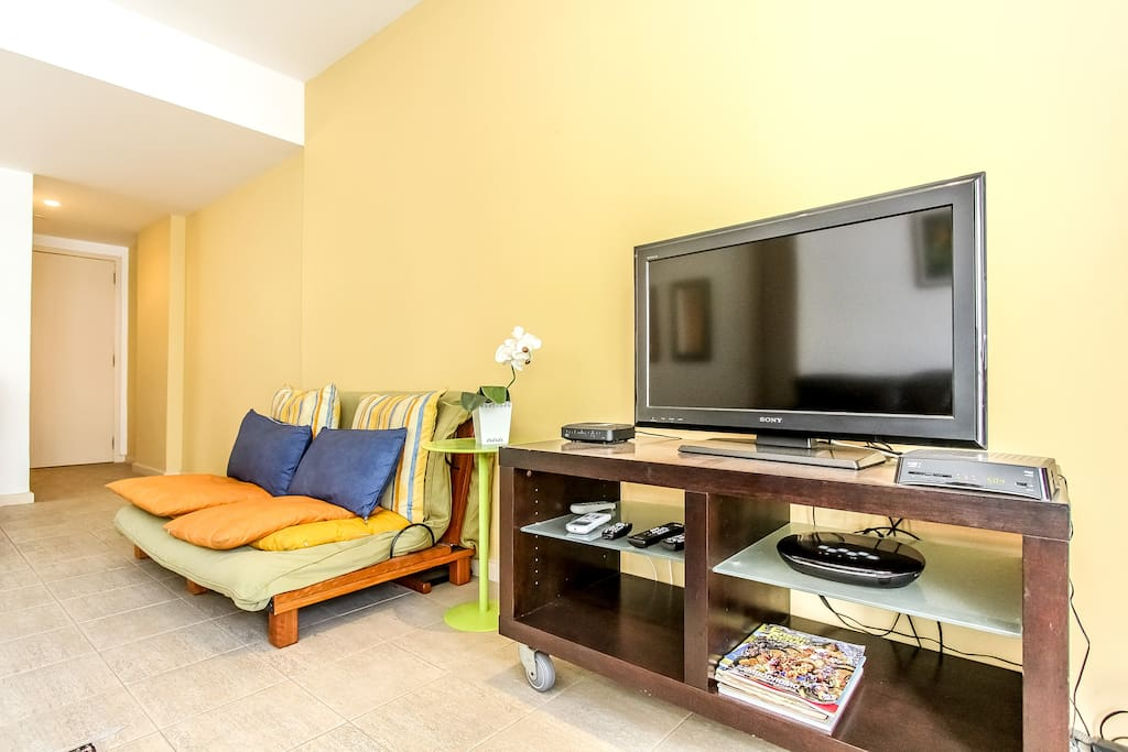 living room with cable TV and internet