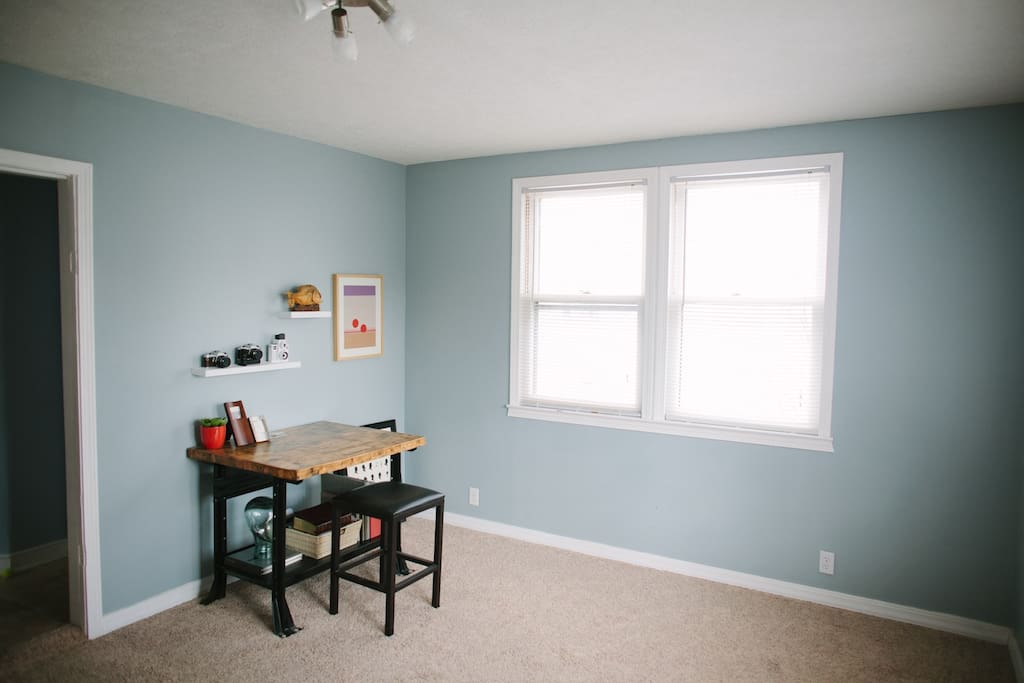 This room has now been converted to a guest bedroom with a queen sized bed and closet space!
