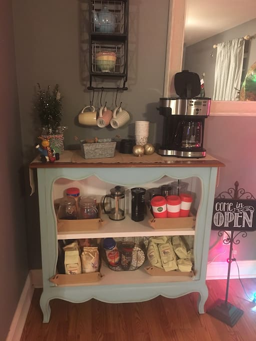 Coffee bar for guest use.