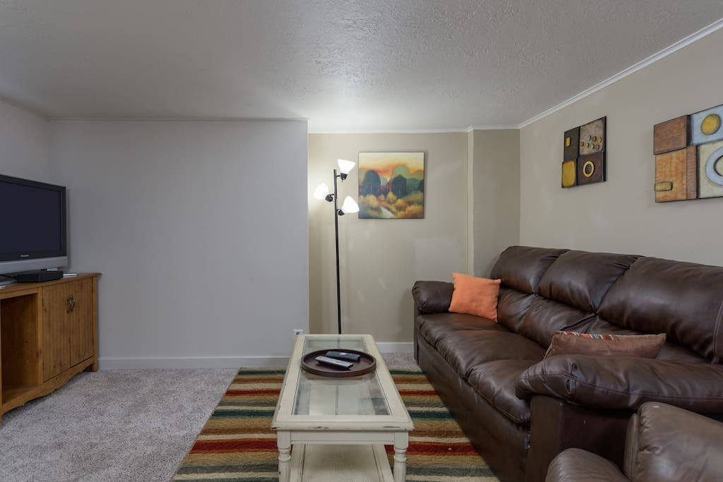 Large couch and leather recliner