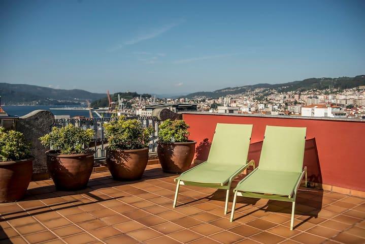 ÁTICO   Centro de Vigo   Gran Terraza al Mar  WIFI - Vigo - Andere