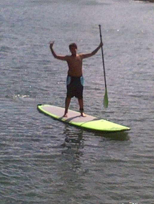 Paddle boarding in the salt water lagoon